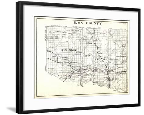1930, Iron County, Hematite, Iron River, Bates, Crystal Falls, Mansfield, Stambaugh, Mastodon, Arms--Framed Art Print
