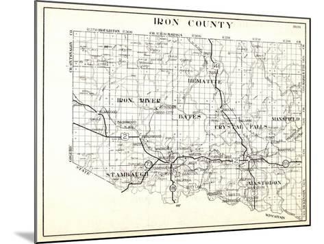 1930, Iron County, Hematite, Iron River, Bates, Crystal Falls, Mansfield, Stambaugh, Mastodon, Arms--Mounted Giclee Print