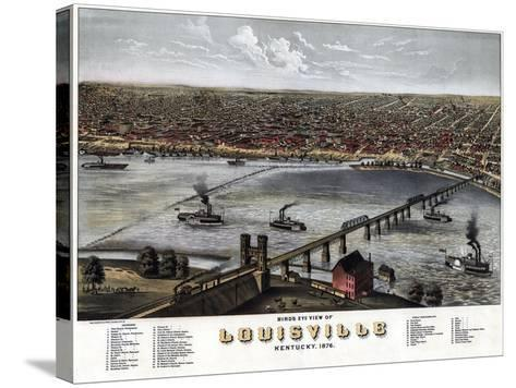 1876, Louisville Bird's Eye View, Kentucky, United States--Stretched Canvas Print