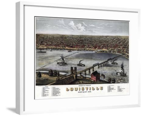 1876, Louisville Bird's Eye View, Kentucky, United States--Framed Art Print