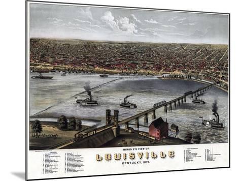 1876, Louisville Bird's Eye View, Kentucky, United States--Mounted Giclee Print