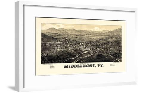 1886, Middlebury 1886c Bird's Eye View, Vermont, United States--Framed Art Print