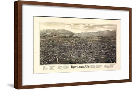 1885, Rutland Bird's Eye View, Vermont, United States--Framed Art Print