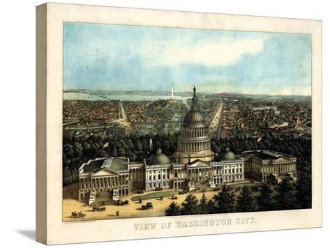 1871, Washington City and Capitol Bird's Eye View, District of Columbia, United States--Stretched Canvas Print