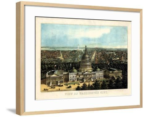 1871, Washington City and Capitol Bird's Eye View, District of Columbia, United States--Framed Art Print