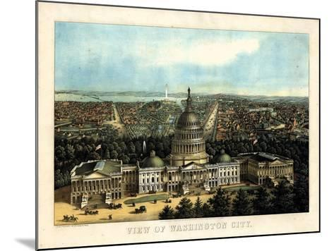 1871, Washington City and Capitol Bird's Eye View, District of Columbia, United States--Mounted Giclee Print