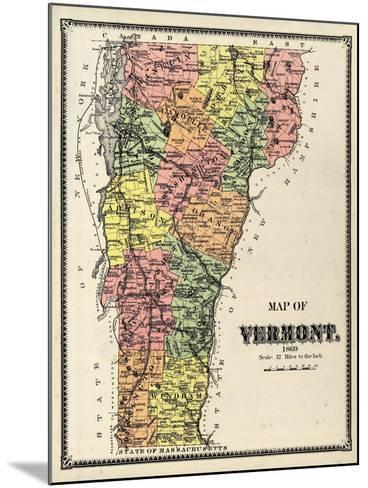 1869, Vermont Map, Vermont, United States--Mounted Giclee Print