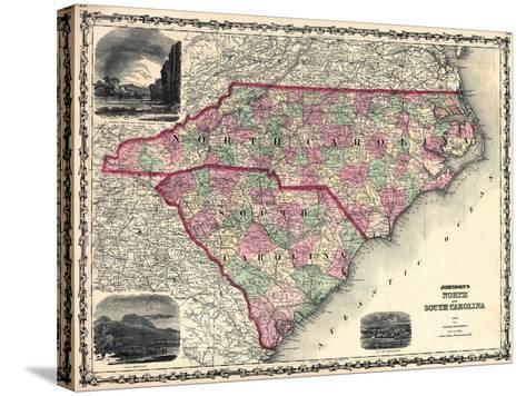 1861, North Carolina and South Carolina State Map, North Carolina, United States--Stretched Canvas Print