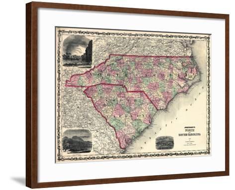1861, North Carolina and South Carolina State Map, North Carolina, United States--Framed Art Print