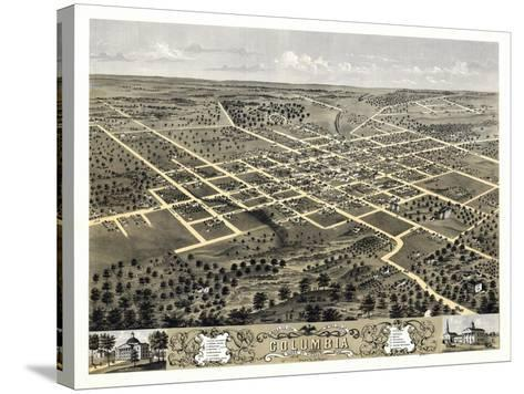 1869, Columbia Bird's Eye View, Missouri, United States--Stretched Canvas Print