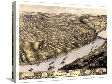 1869, Kansas City Bird's Eye View, Missouri, United States--Stretched Canvas Print