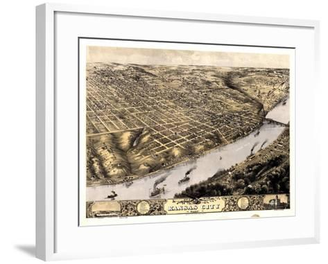 1869, Kansas City Bird's Eye View, Missouri, United States--Framed Art Print