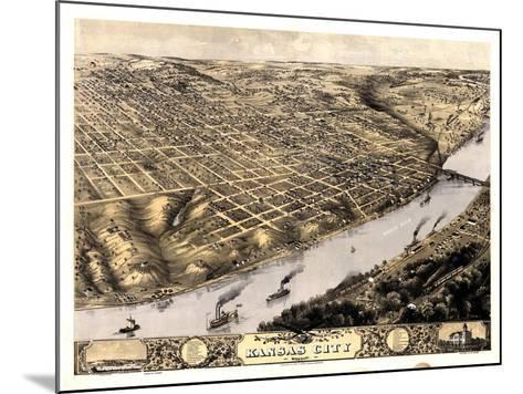 1869, Kansas City Bird's Eye View, Missouri, United States--Mounted Giclee Print