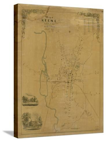 1853, Keene Wall Map, New Hampshire, United States--Stretched Canvas Print