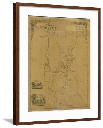 1853, Keene Wall Map, New Hampshire, United States--Framed Art Print