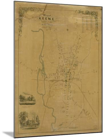1853, Keene Wall Map, New Hampshire, United States--Mounted Giclee Print
