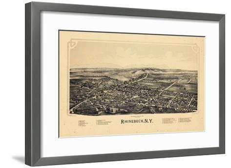 1890, Rhinebeck 1890 Bird's Eye View, New York, United States--Framed Art Print