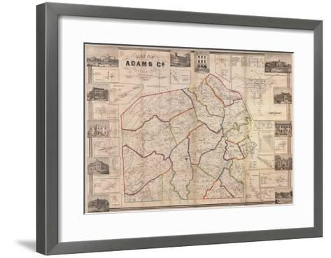 1858, Adams County Wall Map, Pennsylvania, United States Giclee ...