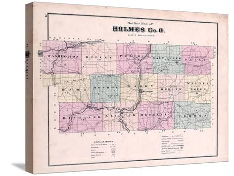 1875, Holmes County Map, Ohio, United States--Stretched Canvas Print