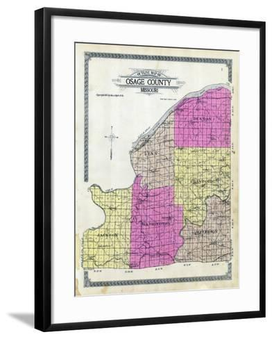 1913, Osage County Outline Map, Missouri, United States--Framed Art Print