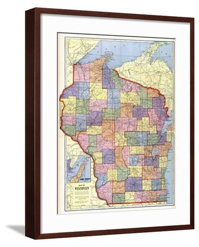 1910, Wisconsin State Map, Wisconsin, United States--Framed Art Print