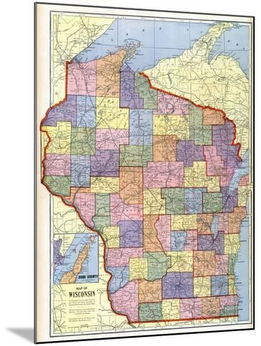 1910, Wisconsin State Map, Wisconsin, United States--Mounted Giclee Print