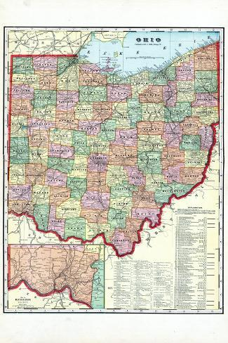 1910, State Map, Ohio, United States--Stretched Canvas Print
