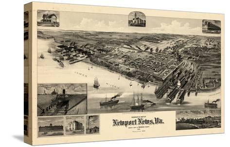 1891, Newport News Bird's Eye View, Virginia, United States--Stretched Canvas Print