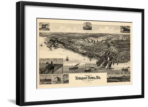 1891, Newport News Bird's Eye View, Virginia, United States--Framed Art Print