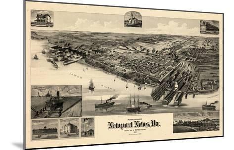 1891, Newport News Bird's Eye View, Virginia, United States--Mounted Giclee Print
