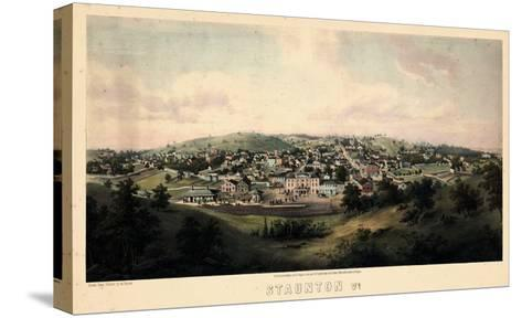 1857, Staunton Bird's Eye View, Virginia, United States--Stretched Canvas Print