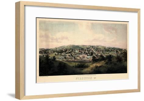 1857, Staunton Bird's Eye View, Virginia, United States--Framed Art Print