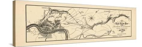 1860, Loveland and Cincinnati Railroad Map, Ohio, United States--Stretched Canvas Print