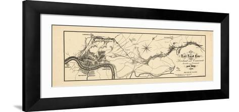 1860, Loveland and Cincinnati Railroad Map, Ohio, United States--Framed Art Print