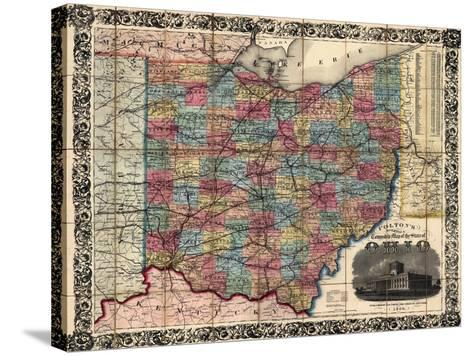 1854, Ohio State Map Township and Railroad Map, Ohio, United States--Stretched Canvas Print
