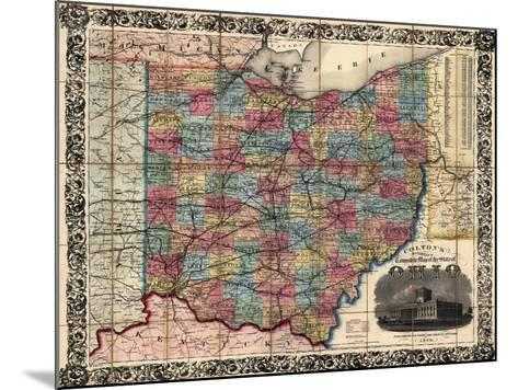 1854, Ohio State Map Township and Railroad Map, Ohio, United States--Mounted Giclee Print