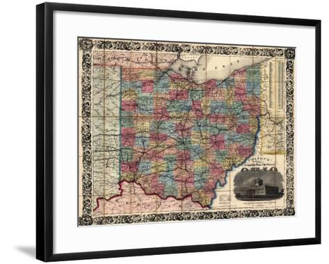 1854, Ohio State Map Township and Railroad Map, Ohio, United States--Framed Art Print