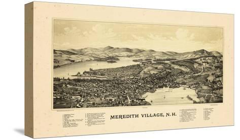1889, Meredith Village Bird's Eye View, New Hampshire, United States--Stretched Canvas Print