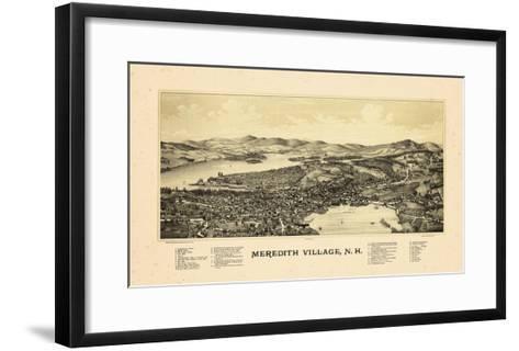 1889, Meredith Village Bird's Eye View, New Hampshire, United States--Framed Art Print