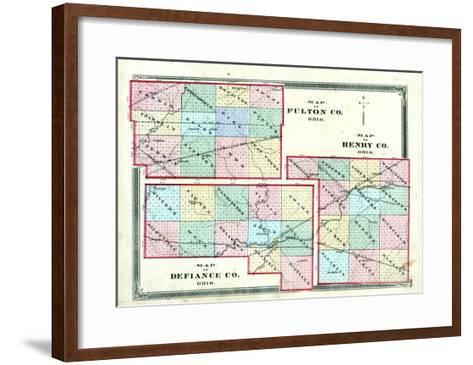 1875, Henry County, Fulton County, Defiance County Maps, Ohio, United States--Framed Art Print