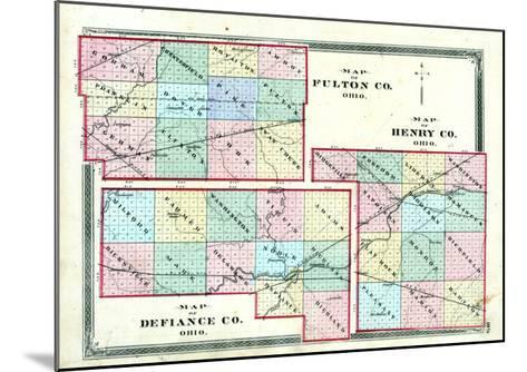 1875, Henry County, Fulton County, Defiance County Maps, Ohio, United States--Mounted Giclee Print
