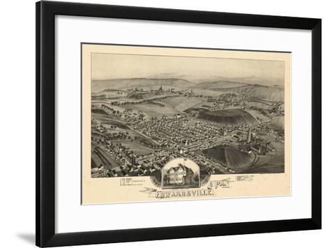 1892, Edwardsville Bird's Eye View, Pennsylvania, United States--Framed Art Print