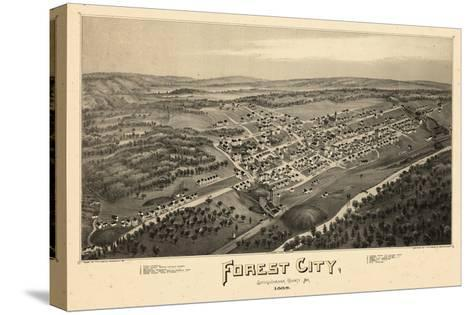 1889, Forest City Bird's Eye View, Pennsylvania, United States--Stretched Canvas Print