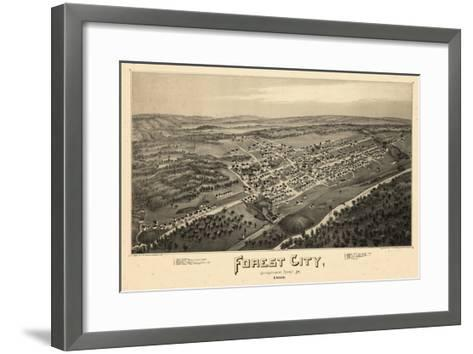 1889, Forest City Bird's Eye View, Pennsylvania, United States--Framed Art Print