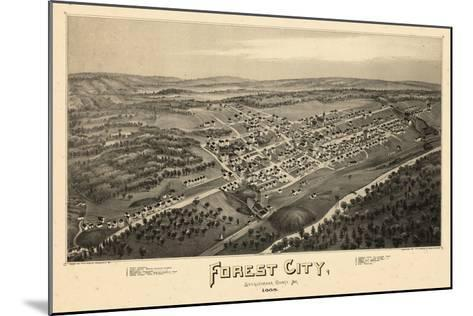 1889, Forest City Bird's Eye View, Pennsylvania, United States--Mounted Giclee Print