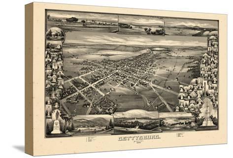 1888, Gettysburg Bird's Eye View, Pennsylvania, United States--Stretched Canvas Print