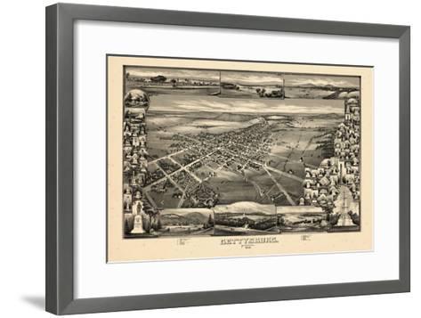 1888, Gettysburg Bird's Eye View, Pennsylvania, United States--Framed Art Print