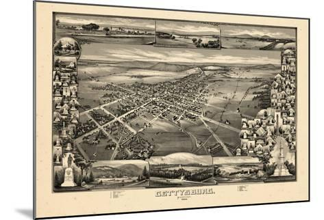 1888, Gettysburg Bird's Eye View, Pennsylvania, United States--Mounted Giclee Print
