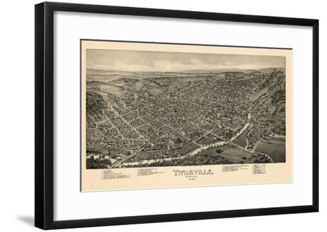 1896, Titusville Bird's Eye View, Pennsylvania, United States--Framed Art Print