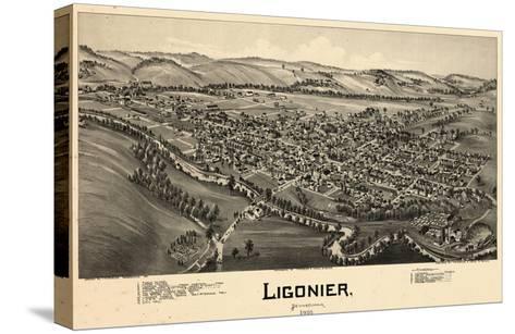1900, Ligonier Bird's Eye View, Pennsylvania, United States--Stretched Canvas Print